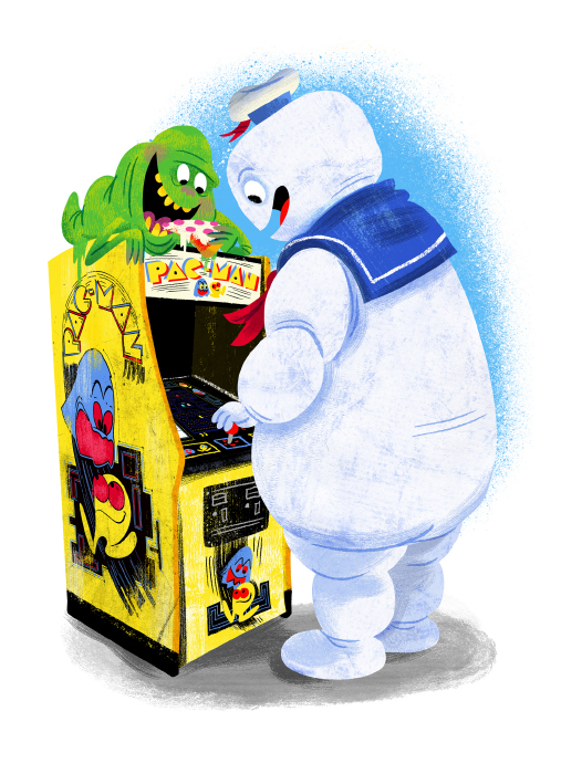 """""""Arcade Dayz - postcard set - Ghostbusters"""" DOWNTIME (duo show w/ Glen Brogan) (Gallery 1988)"""