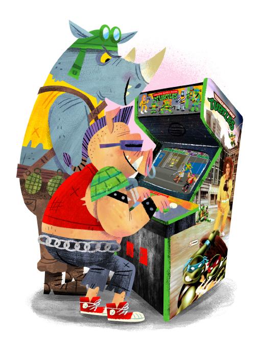 """""""Arcade Dayz - postcard set - TMNT"""" DOWNTIME (duo show w/ Glen Brogan) (Gallery 1988)"""