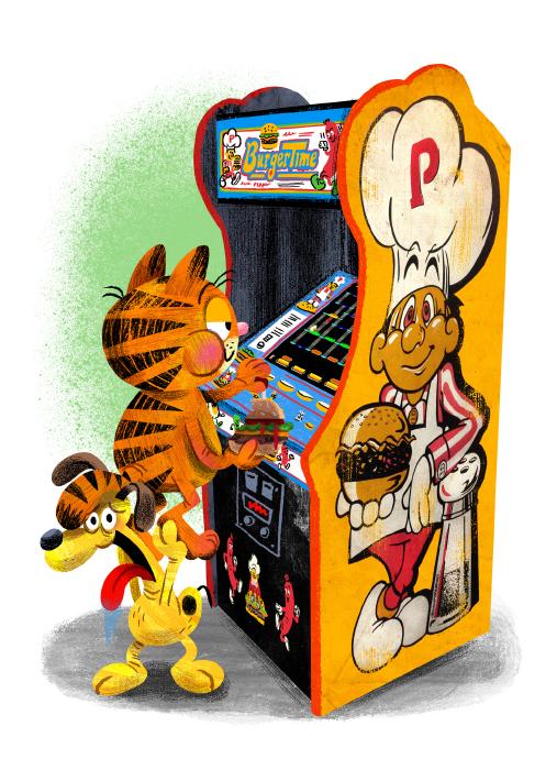 """Arcade Dayz - postcard set - Garfield"" DOWNTIME (duo show w/ Glen Brogan) (Gallery 1988)"
