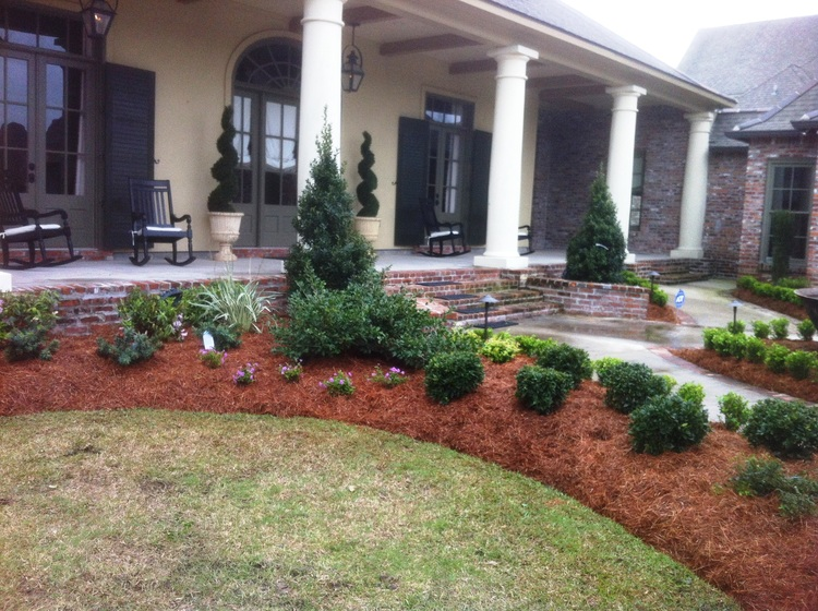 Landscape Installation with Flowers, Baton Rouge, LA - Greenscape Design