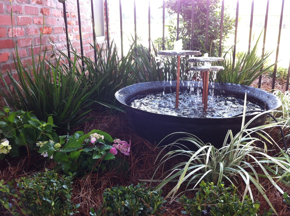 Water Fountain on Lawn, Greenscape Design - Baton Rouge, LA