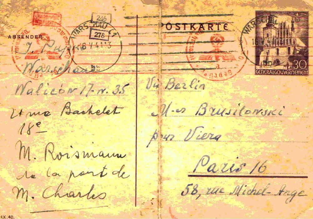 Postikortti Varsovan ghetosta vuodelta 1941