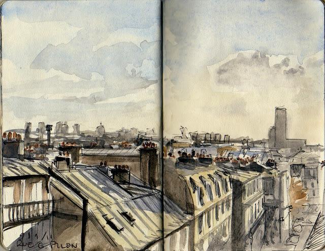 Etienne Voillequinin akvarelli vuodelta 2011, Rue Germain-Pilon