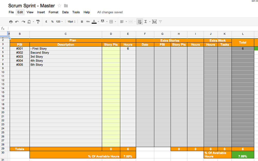 Scrum Sprint Spreadsheet - Review Sheet