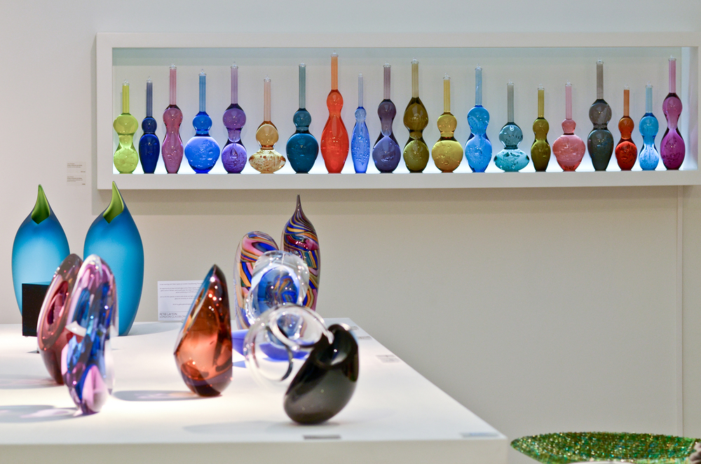 Contemporary Glassware displayed in Bespoke Vitrines