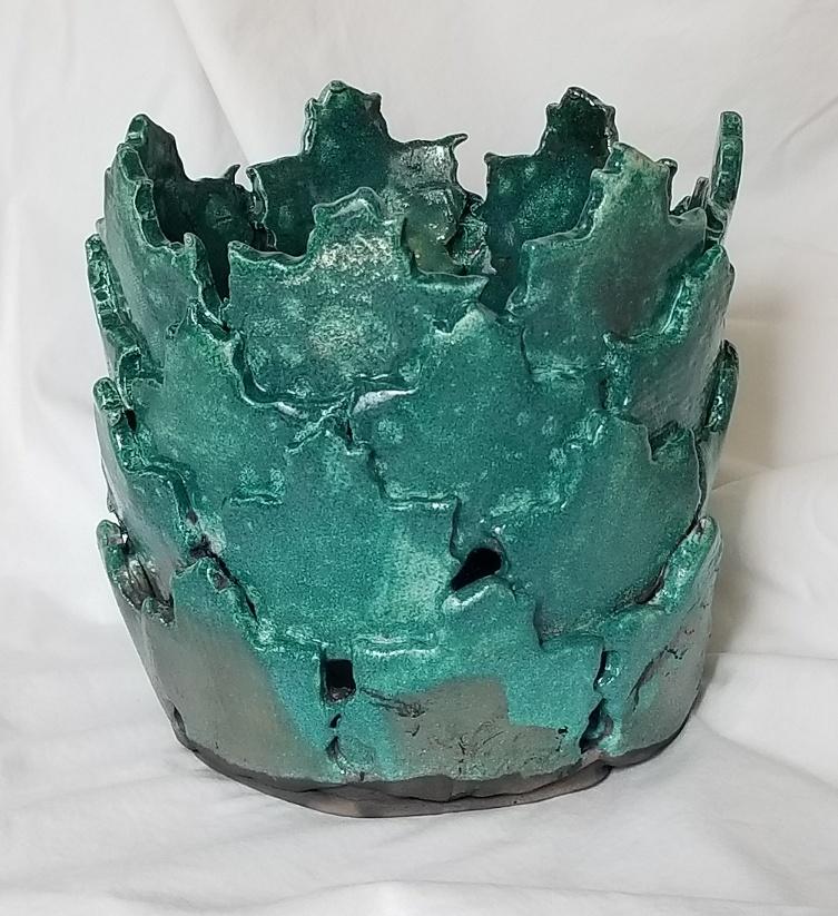Raku Leaf Vase