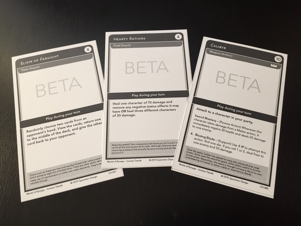 Three sample cards from our latest rounds of testing. Calibyr's an Artifact, a powerful object you can equip on a character.