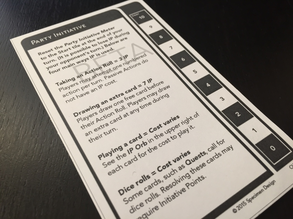 This is the Party Initiative card. During a player's turn, IP is spent in a variety of ways. The main uses are described here.
