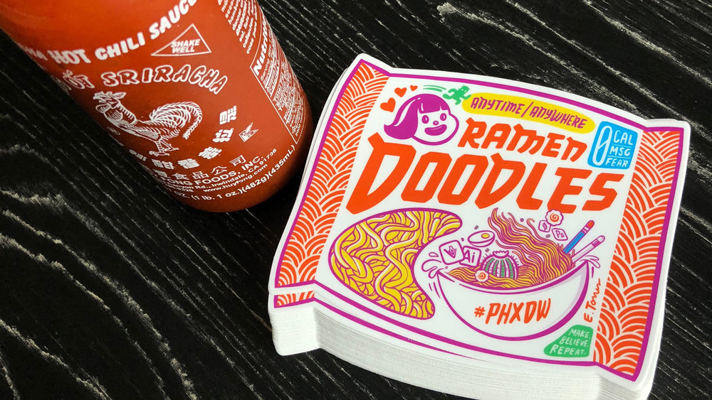 Ramen Doodles  = Gave a drawing presentation this year. It was a great time, packed the room and ran out of stickers!