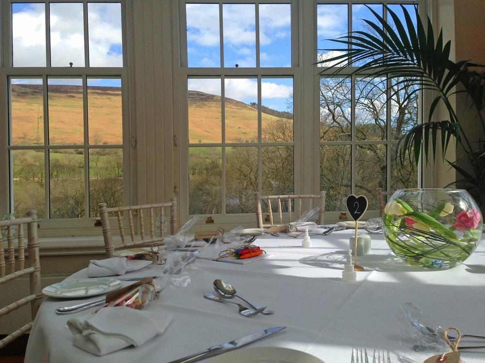The award winning Orangery Restaurant set for a wedding