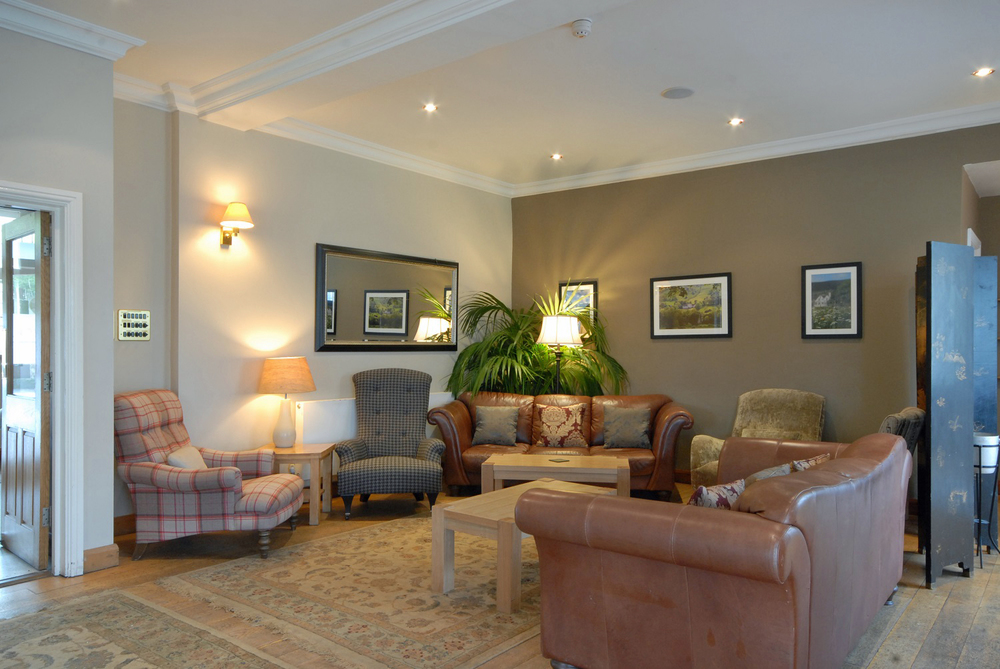 The lounge at Losehill House Hotel and Spa in the Peak District