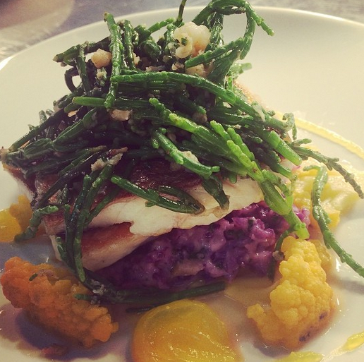 Bass, purple cauliflower 'risotto', potted shrimp, samphire..png