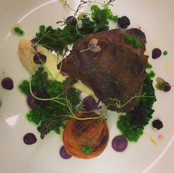 Grouse, braised leg and savoy bonbon, celeriac, red cabbage, pickled blackberry and watercress..png