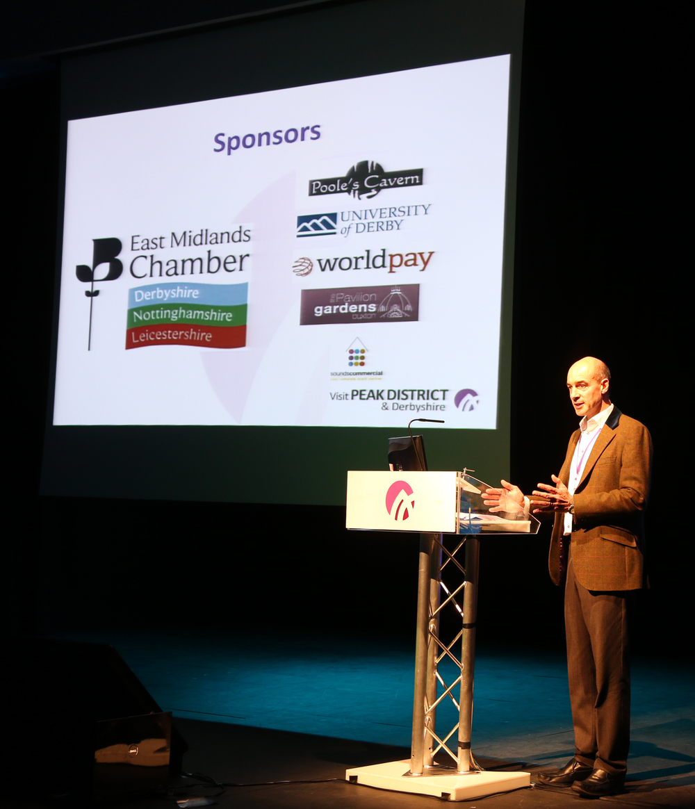 Paul Roden, Chairman of Visit Peak District & Derbyshire, speaking at the conference.