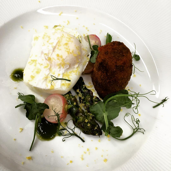 Spring vegetarian, soft poached eggs, Bbq English asparagus, smoked peakland white croquette, peas and parsley, shaved egg yolk (April).PNG