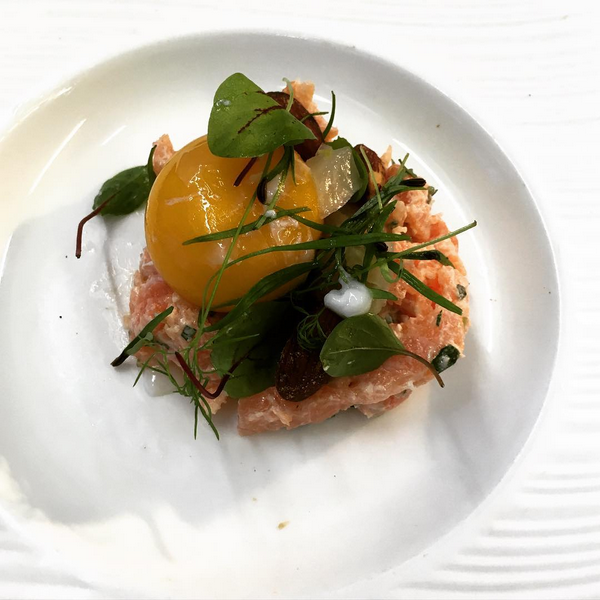 Seatrout tartare, poached egg yolk, confit fennel, smoked almonds (September).PNG