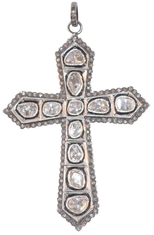 Rosecut and pave diamond cross pendant s carter designs rosecut and pave diamond cross pendant aloadofball Image collections