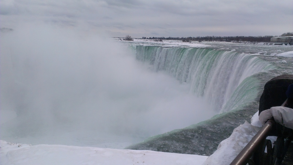 Niagra Falls. Millions of litres fall each second, although it is quite icy at the moment...