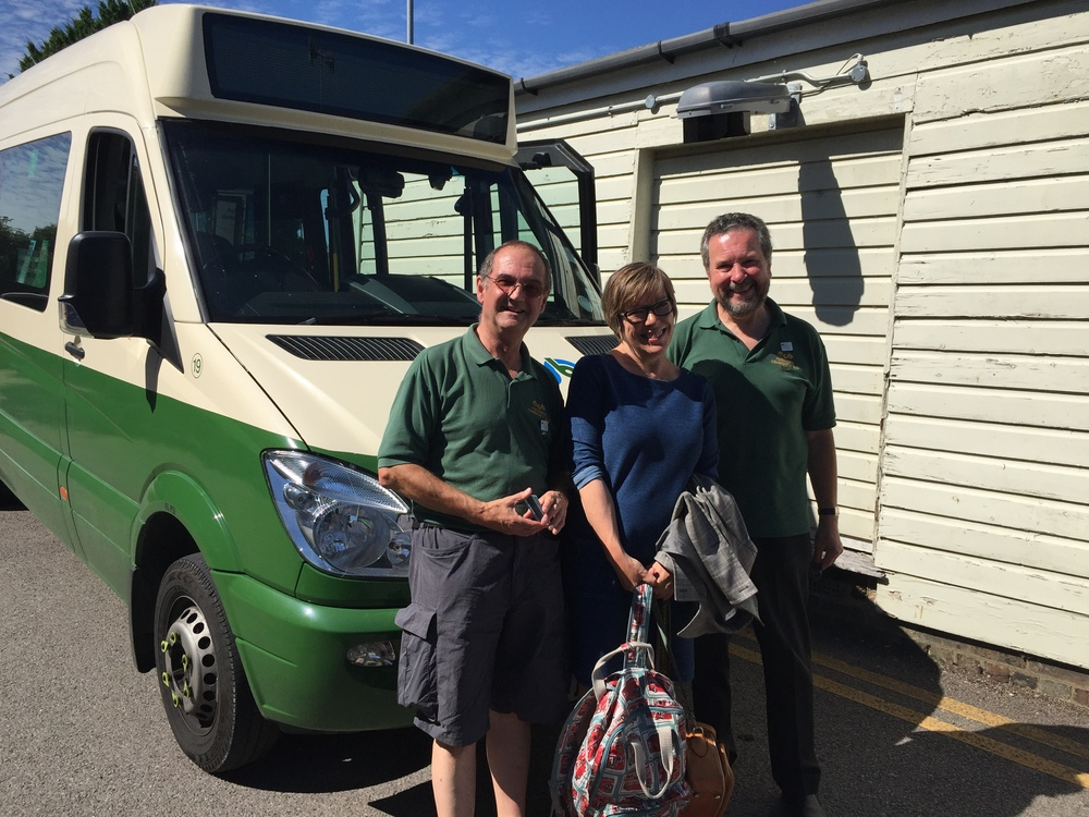 Philip and Richard from Cuckmere Buses with Carole Richmond from SDNP