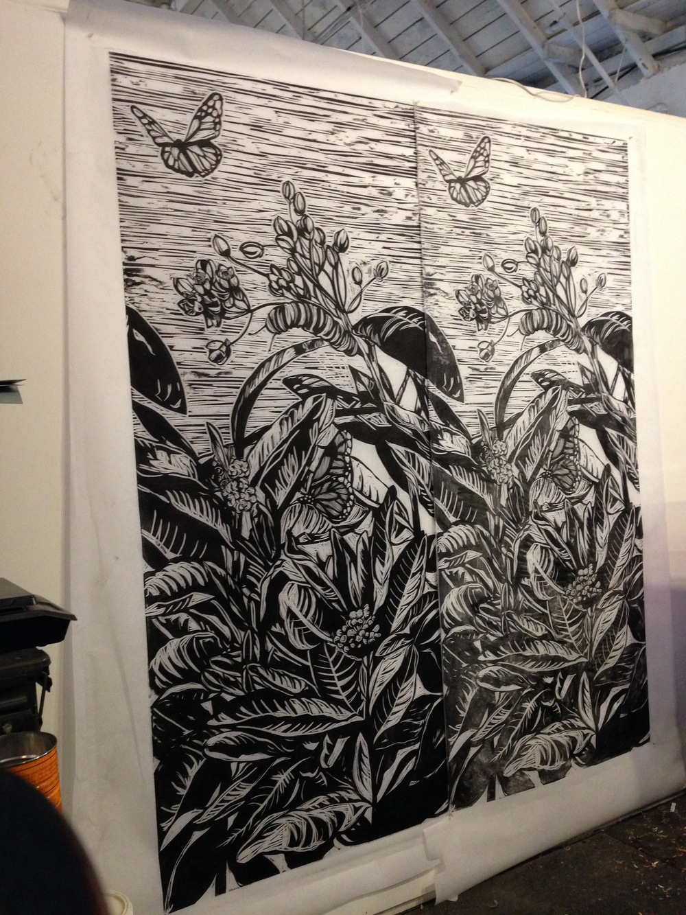 "Woodcut, 2014, 36"" x 72"""