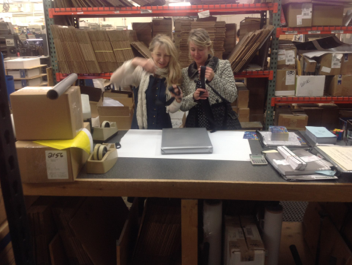 "Katie Swatland and myself gift wrapping the   new ""ALLA PRIMA II COLLECTOR'S SERIES."""