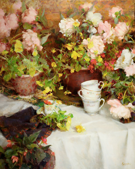"""SPRING TEACUPS""   30 x 24   oil on canvas"