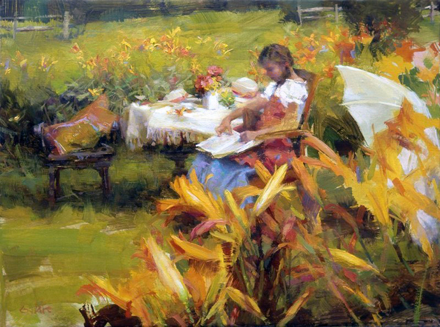 """SUMMER STORIES""     12x16  oil  2009   sold"