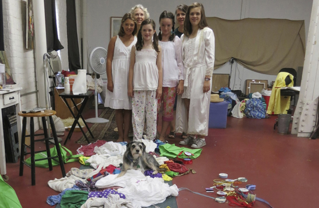 Artists Andrea Scheidler and Carol Arnold (back row) joined me in this adventure.  Our models, Carol's children;  Grace, Sarah, Rachel and friend Paige along with our furry friend Homer.