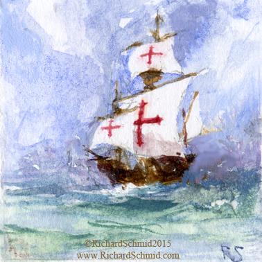 "SANTA MARIA II, Richard Schmid, Watercolor, 1.25""x1.25"" (Now in orbit thanks to Valley Christian High School, San Jose CA  http://www.vcs.net/)"
