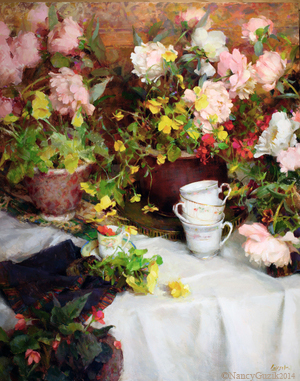 """SPRING TEACUPS""    30x24  oil  2012  SOLD  Won 1st Prize - Art Renewal"