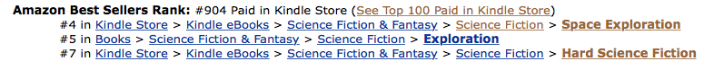 DEFIANCE at #904 in the Amazon US Kindle Store