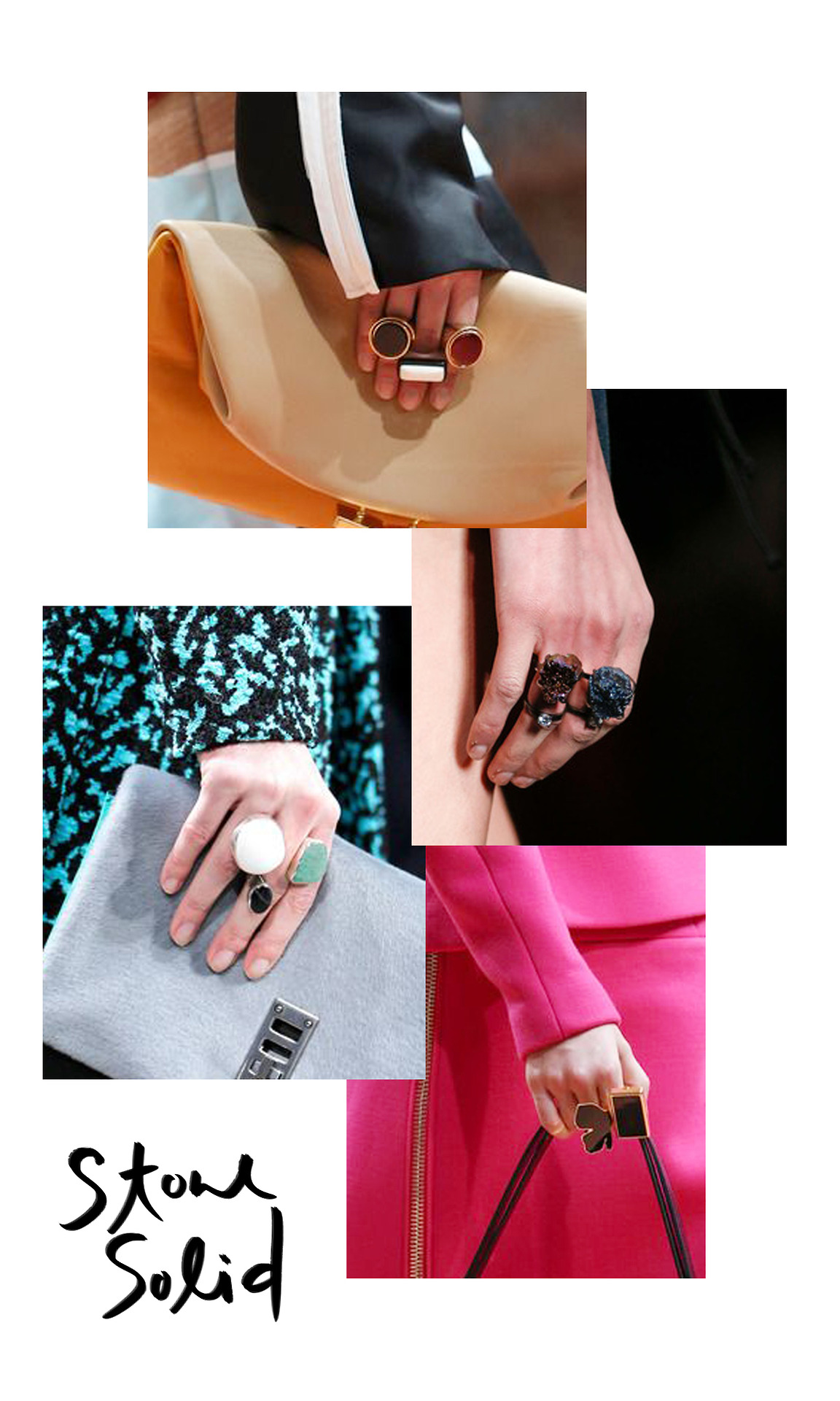 Don't pack up all those teeny tiny gold stacking rings yet, but if the fall runways are any indication of what's to come, oversize stacks are heading our way soon. Open rings with mixed cabochons were spotted on the runways at Proenza Schouler while resin rings in varying styles -some even appeared to store a solid perfume or lip gloss. Fendi sent stacks of chunky titanium anodized druzy rings down the runway. I gotta say I'm into it, especially that top stack of signet-inspired rings.   Images from top to bottom:  Marni ,  Fendi ,  Proenza Schouler ,  Marni     nerd-out moment: Ever wonder how all those insanely colorful druzies and crystals we've been seeing lately look so oil slicky iridescent? T hey are enhanced with a chemical process called Chemical Vapor Deposition(CVD) in which the stones are exposed in a gaseous environment that contains titanium. During the process the metal bonds on a molecular level with the mineral. These can then be  anodized  to create create a gorgeous variety of colors. Basically, they cover the stones in tiny bits of metal and then dip the metal into a bath of acid with an electric current running through it. The amount of current going through the acid determines the color. It's pretty mind blowing in person.