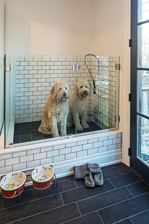 You could customize your wash room for an easy (or at least easier) clean-up.