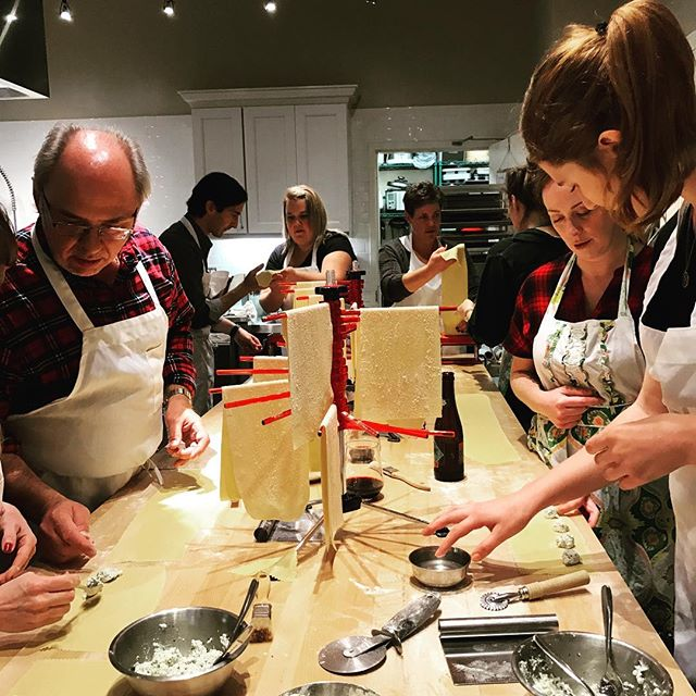 Making pasta for Christmas office party. Ohhh what fun. Happy 2016. ❤️these amazing people.