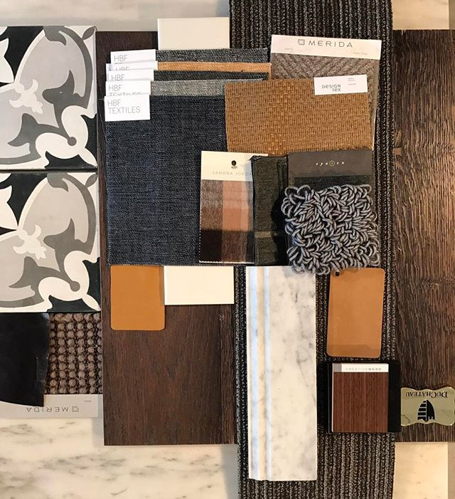 Project inspiration materials - new year, new projects! #interiordesign #duchateau #hbf #marble #leather #maharam #merida #shawcontract #delmar
