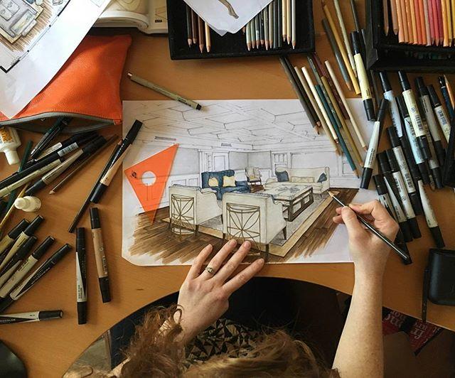 Working on something good. #designlife #interiordesign #sketching #rendering #schematicdesign #perspective #coastalinteriors #palletteprep #presentationtechniques #customhomes #custominteriors