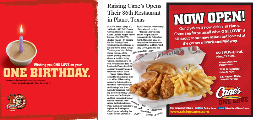 Baton Rouge Marketing Company, Raising Cane's 10th Birthday Image - Diane Allen and Associates