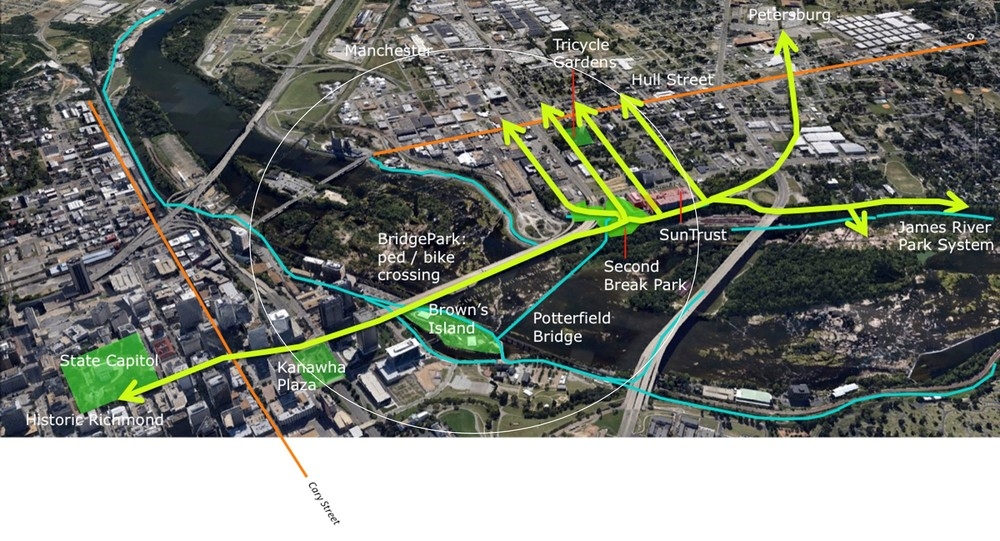 BridgePark as connective tissue: How BridgePark and an expanded Kanawha Plaza can connect the river experience to the City center, on both sides of the James. Image: Spatial Affairs Bureau