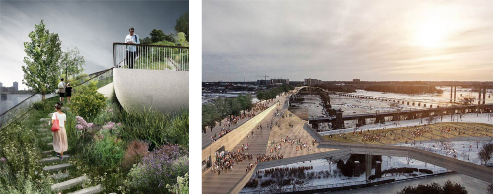 Left: Pier 55 in New York - Heatherwick Studios (2016), Right: Bridge Park in Richmond - Spatial Affairs Bureau, (2014)