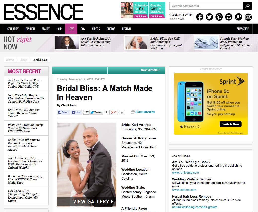 Kelli and Anthony's wedding at Lowndes Grove photographed by Charleston Wedding Photographer Richard Ellis Photography Published in Essence Magazine!!