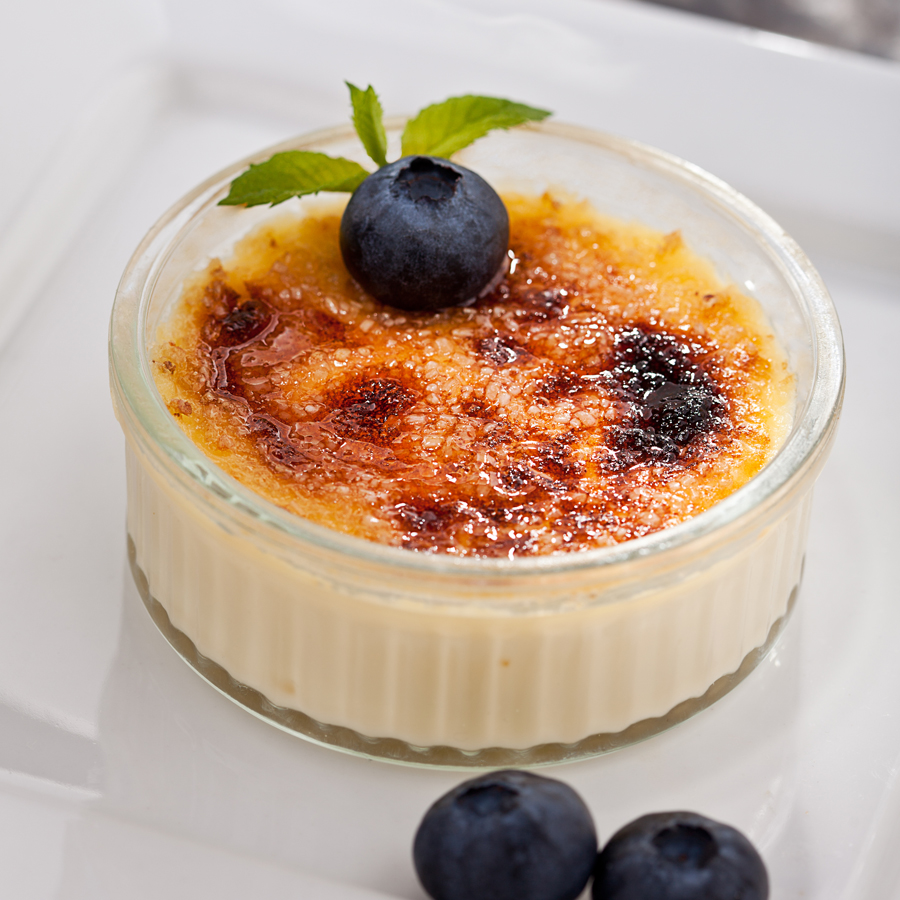 Coconut Crème Brule with Blueberries