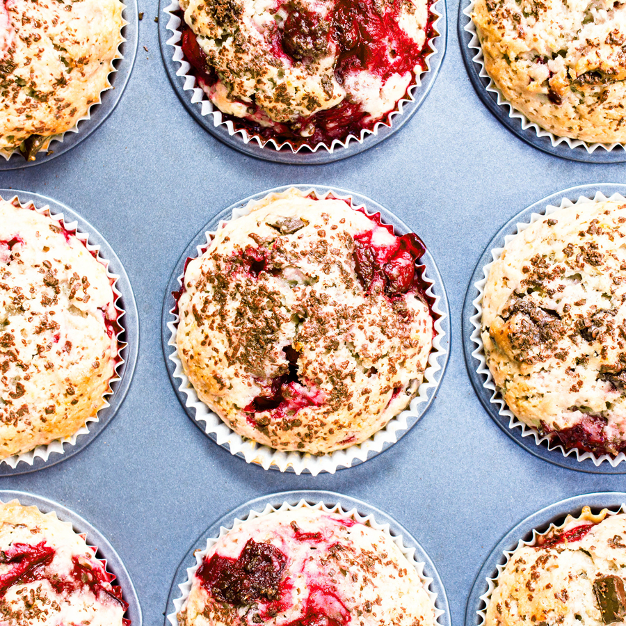 Glazed Strawberry Balsamic Muffins