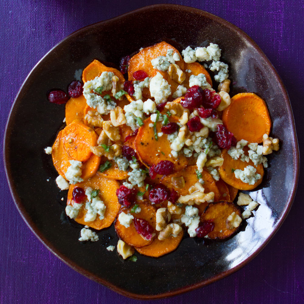 Honeyed Sweet Potato Nachos with Bleu Cheese, Cranberries & Walnuts