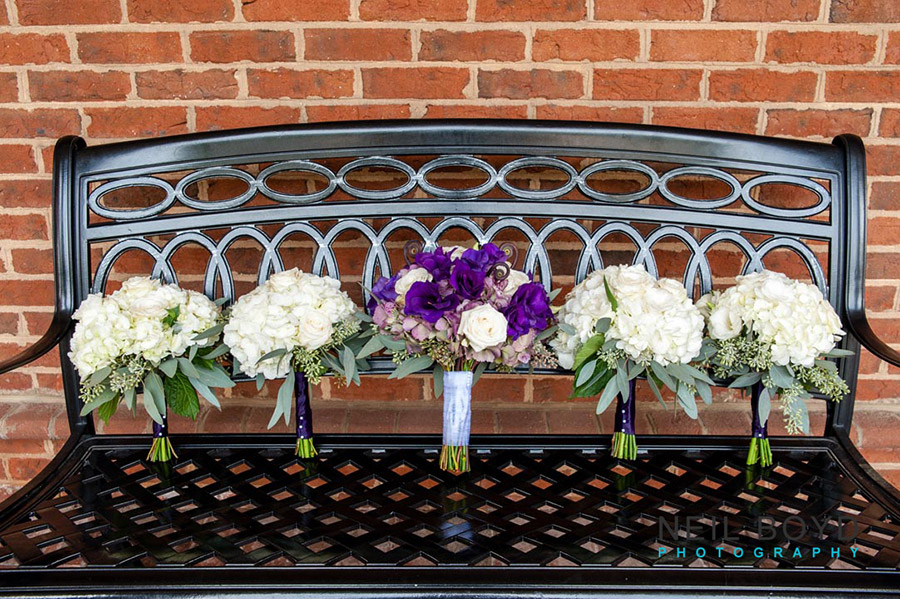 Purple & White Wedding Bouquets on Bench  | Raleigh Wedding Florist