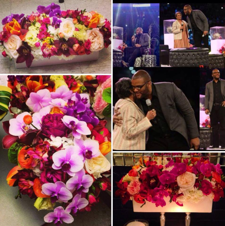 Flowers for Tyler Perry's appearance at the Women's Empowerment Expo.