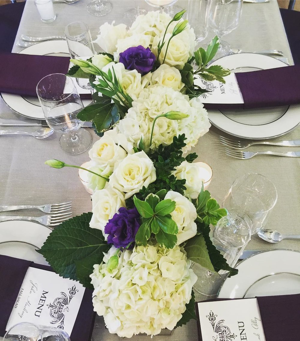 Purple and White Table Flowers  | Raleigh Wedding Florist