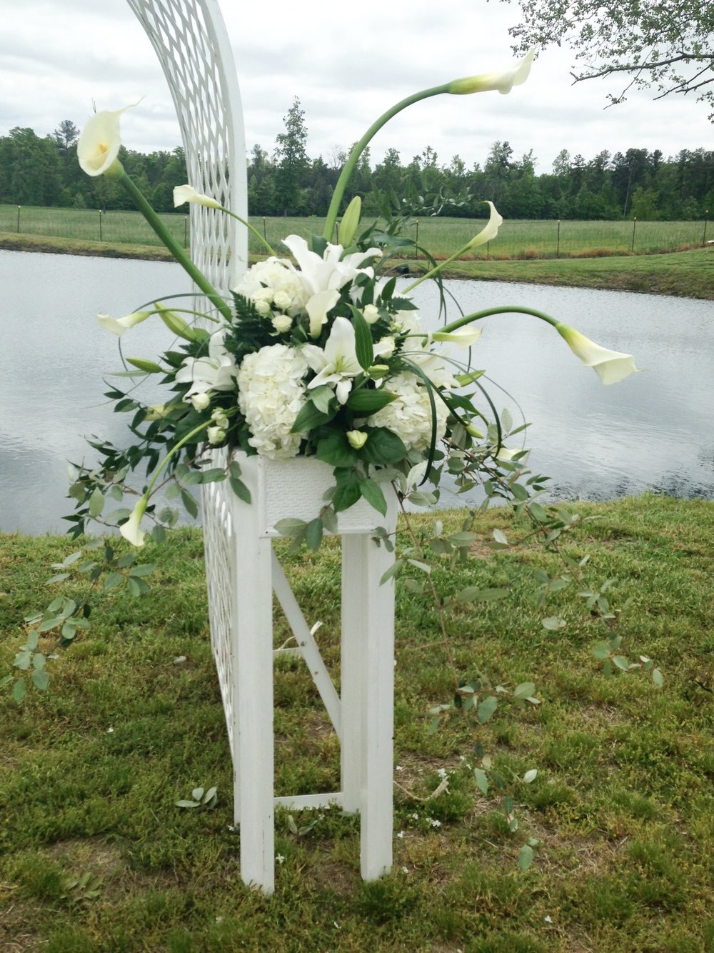 Outdoor Wedding by the Pond  | Raleigh Wedding Florist