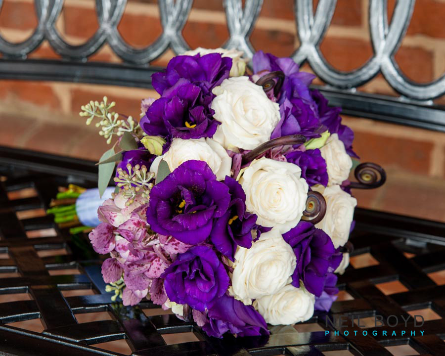 Purple & White Wedding Bouquet on Iron Bench | Raleigh Wedding Florist