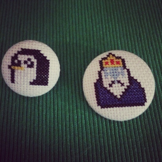 Master cross-stitcher, Erika, made these Adventure Time buttons for me for my birthday!