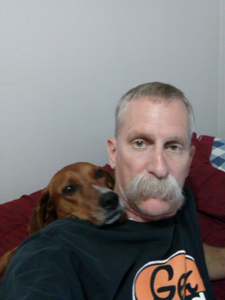 Jon with his rescue dog, Sadie